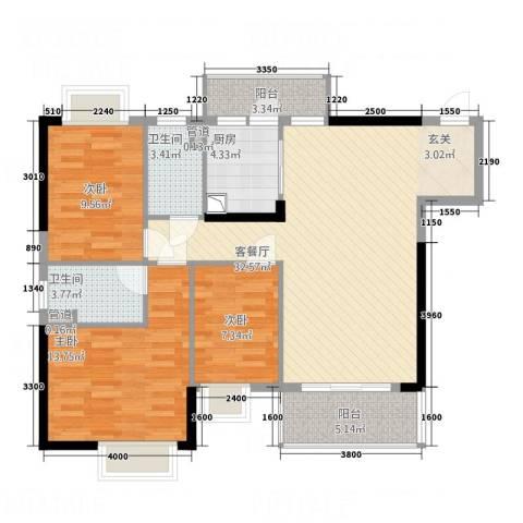 金世纪嘉园3室1厅2卫1厨114.00㎡户型图