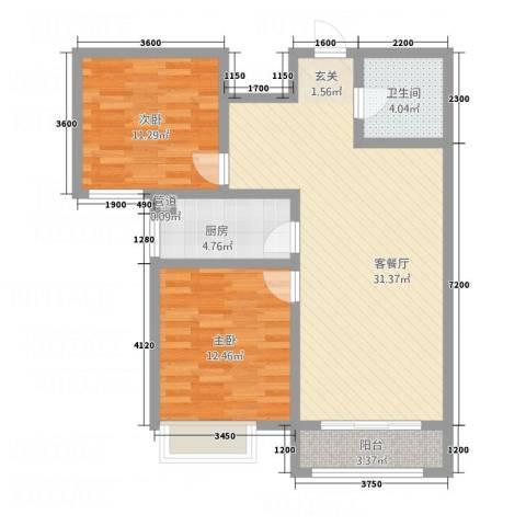 石山新天地2室1厅1卫1厨67.38㎡户型图