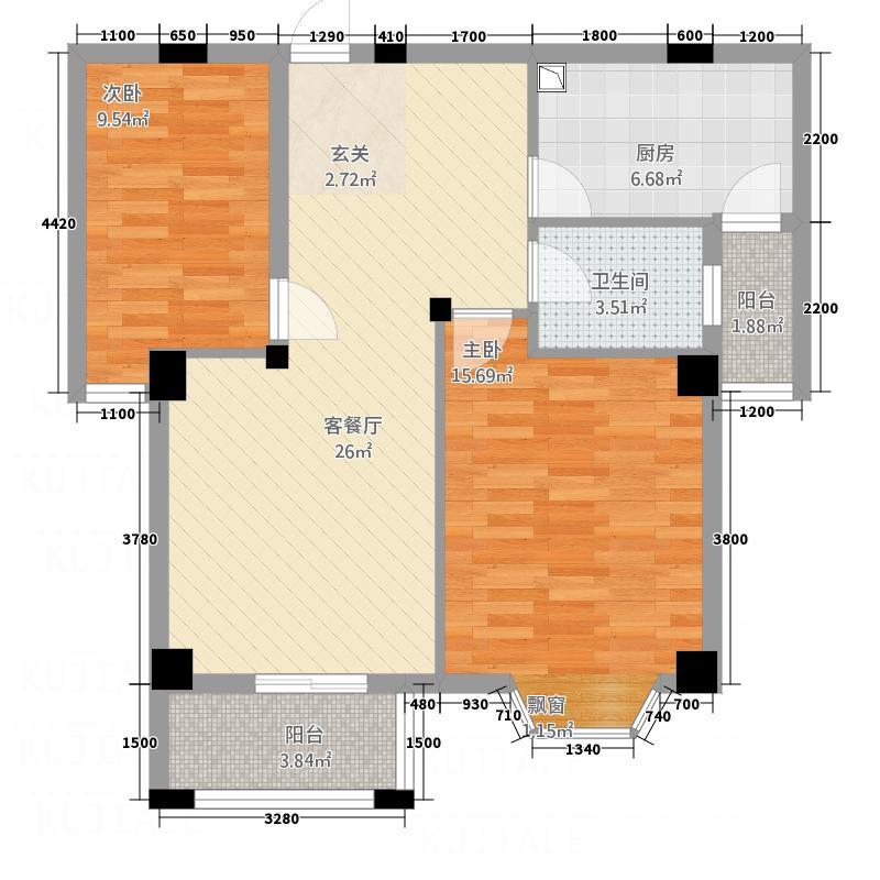 孔雀河1号77.70㎡16#G2户型2室2厅1卫