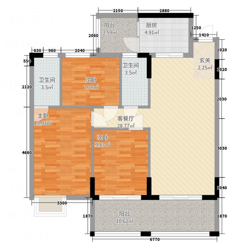 东新华庭123.30㎡乐源苑B1/B2户型3室2厅2卫1厨