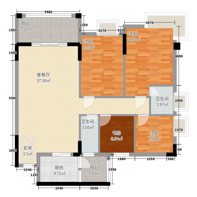 东新华庭133.75㎡乐源苑C1/C2户型4室2厅2卫1厨