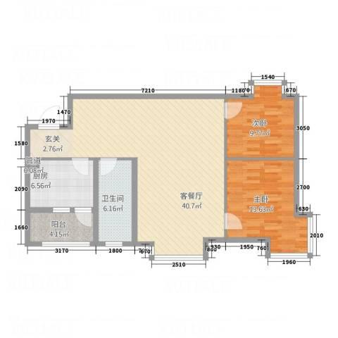 中华苑2室1厅1卫1厨81.06㎡户型图
