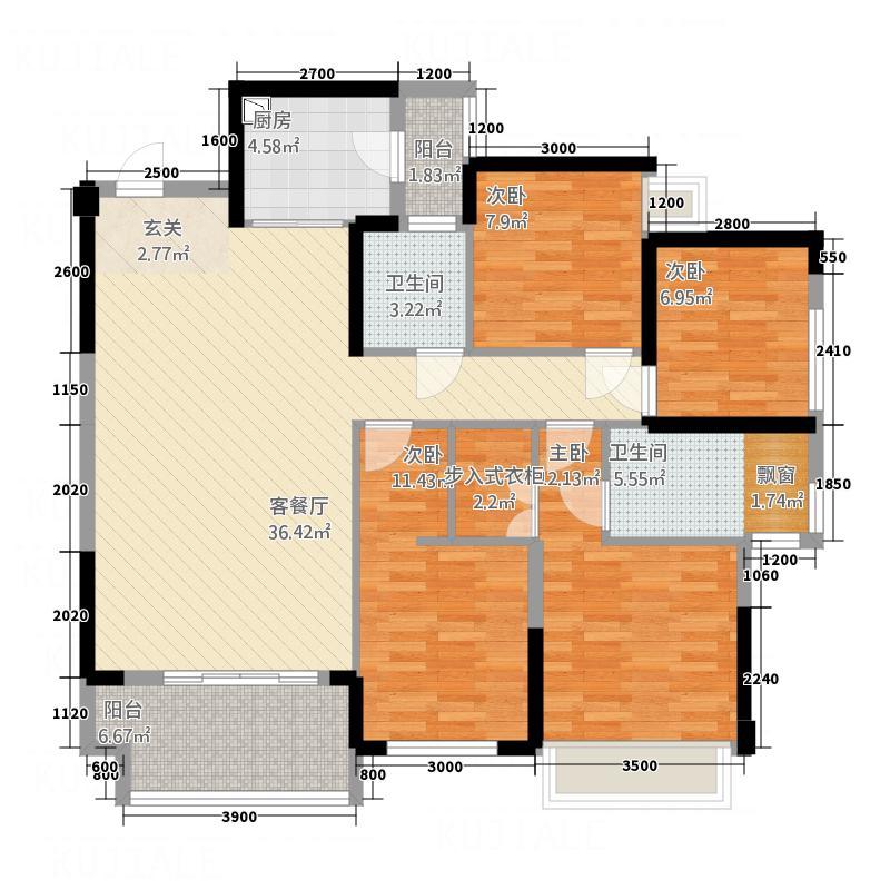 长荣新城户型4室2厅1卫1厨