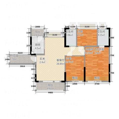 巨龙国际3室1厅2卫1厨128.00㎡户型图
