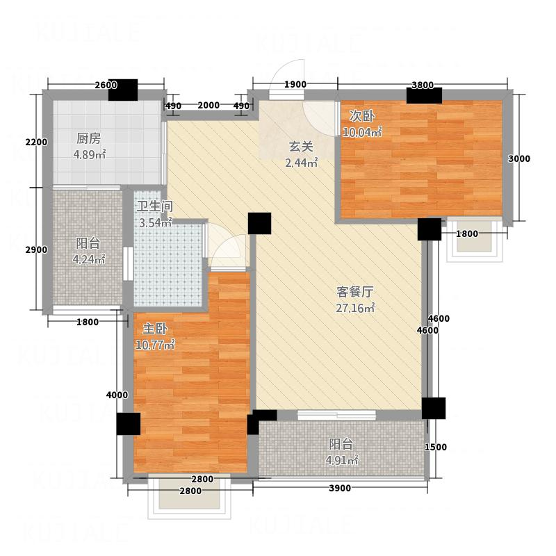 东新华庭84.60㎡福泽苑D户型2室2厅1卫1厨