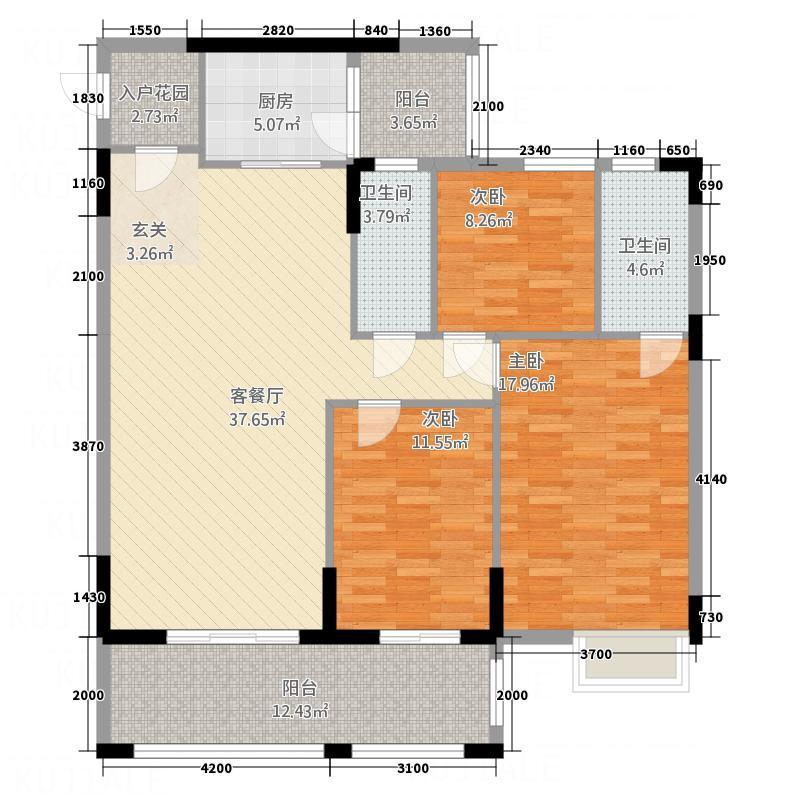 东新华庭124.63㎡乐源苑F1/F2户型3室2厅2卫1厨