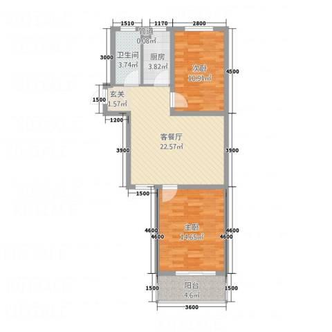 石山新天地2室1厅1卫1厨60.37㎡户型图