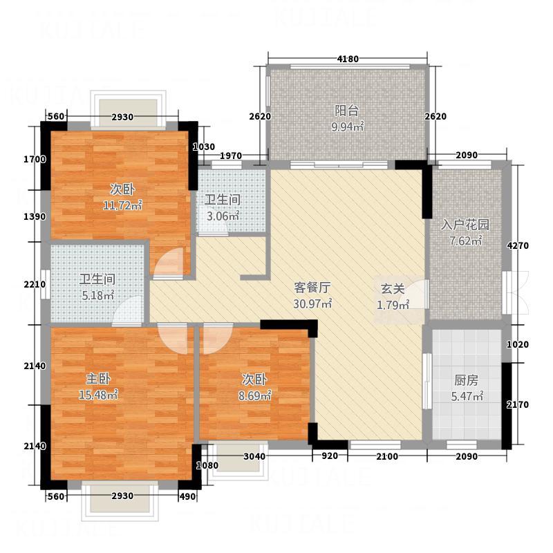 江南名居118.65㎡锦苑8-11座E-1型户型3室2厅2卫1厨