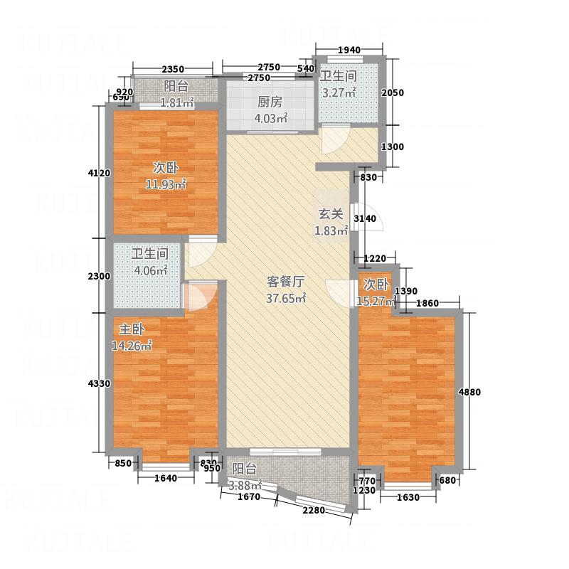 忠真新天地138.00㎡F户型3室2厅2卫1厨