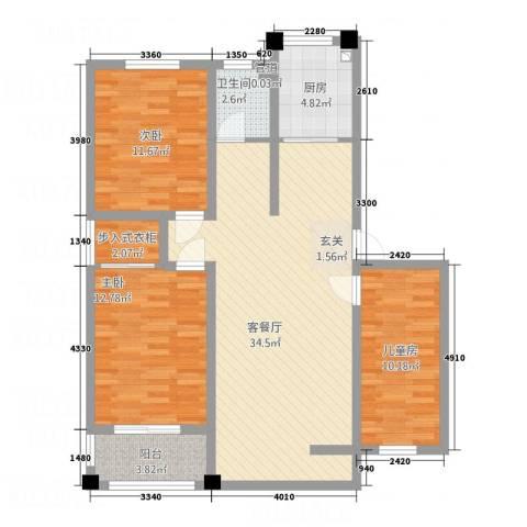 绿洲国际花园3室1厅1卫1厨119.00㎡户型图