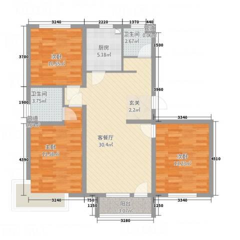 紫金东郡3室1厅2卫1厨118.00㎡户型图