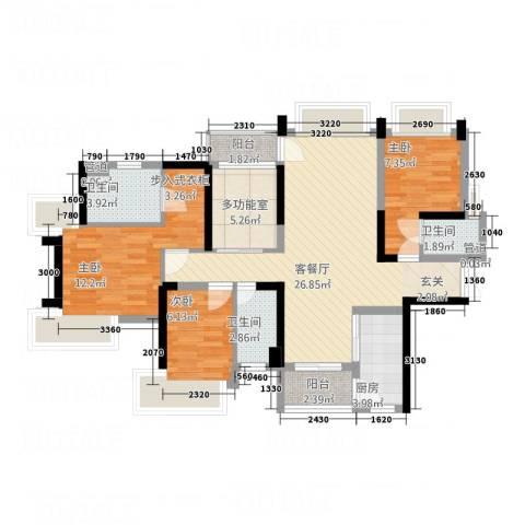 粤海国际花园3室1厅3卫1厨111.00㎡户型图