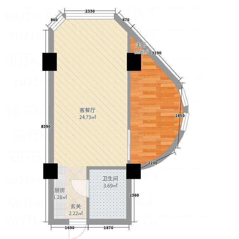 万裕国际城53.30㎡SOHO进行时户型1室1厅1卫1厨