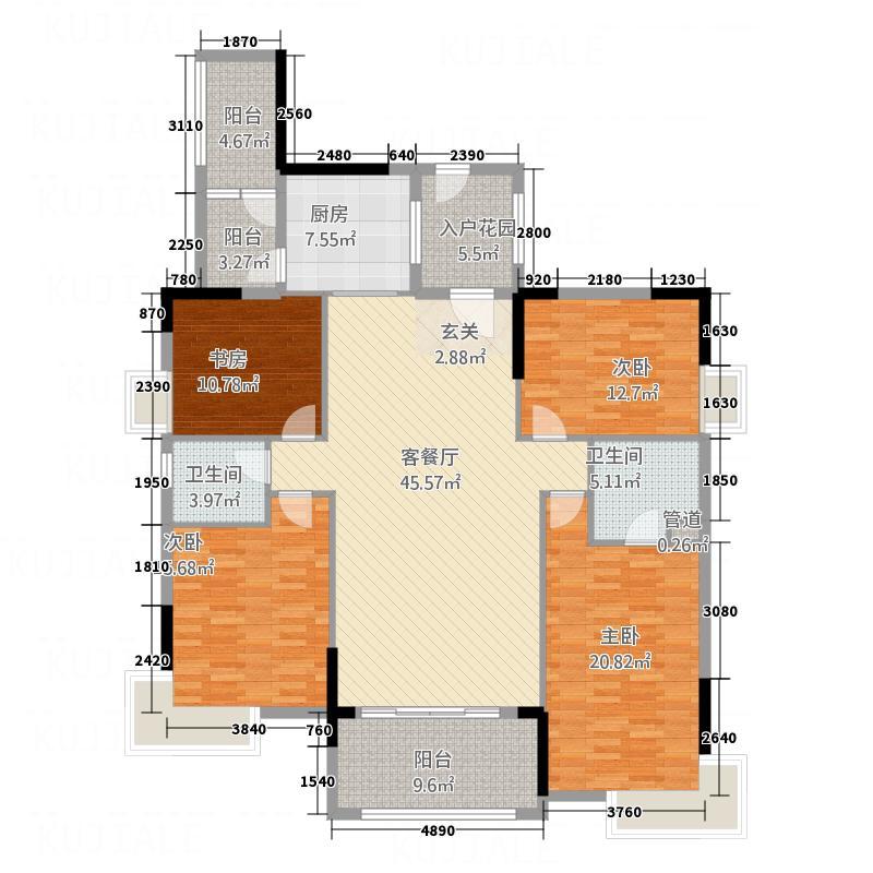 领地海纳天河花园168.00㎡10、11栋02单位户型4室2厅2卫1厨