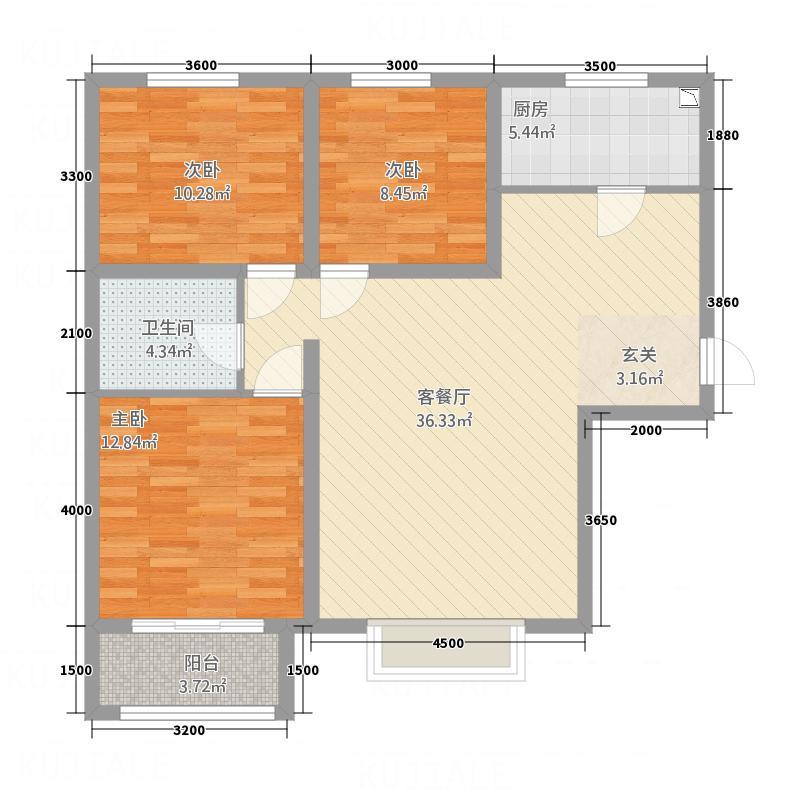 京润现代城114.50㎡4户型3室2厅1卫1厨