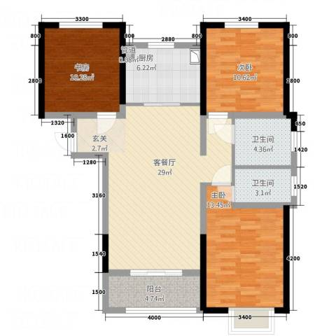 京润现代城3室1厅2卫1厨81.86㎡户型图