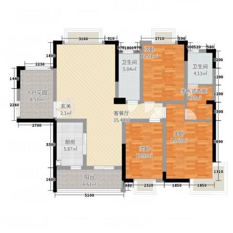 夏南新村3室1厅2卫1厨108.85㎡户型图