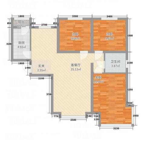 京润现代城3室1厅1卫1厨113.00㎡户型图