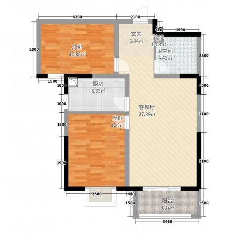 京润现代城2室1厅1卫1厨64.50㎡户型图