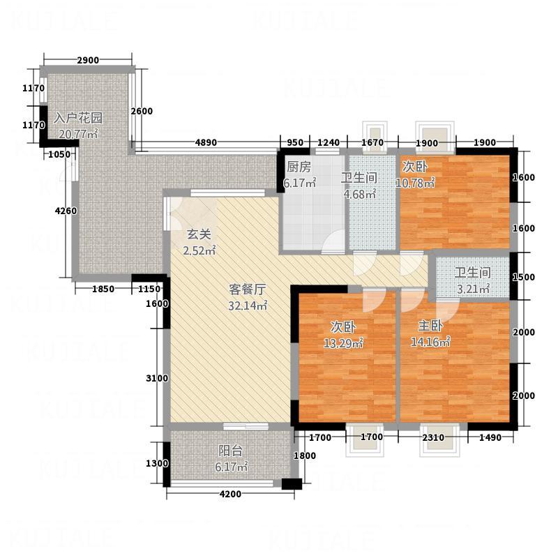 金河水岸14.00㎡户型3室2厅2卫1厨