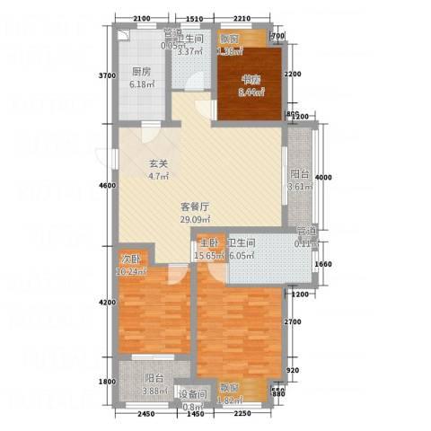 牡丹领秀汇3室1厅2卫1厨128.00㎡户型图