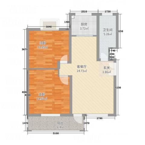 齐云雅苑2室1厅1卫1厨66.69㎡户型图