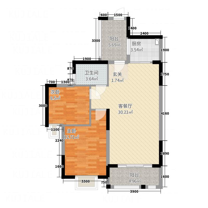 和谐家园65.00㎡2#B户型2室2厅1卫1厨