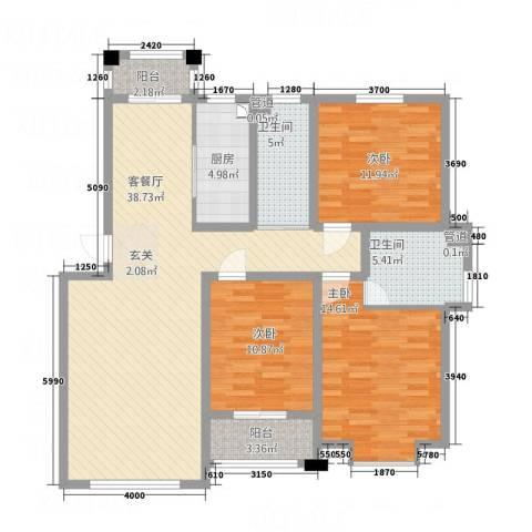 绿洲国际花园3室1厅2卫1厨97.21㎡户型图