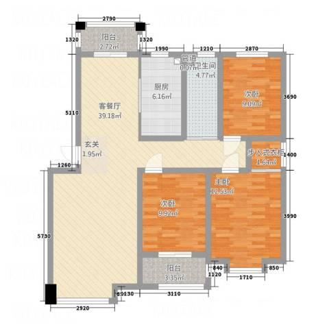 绿洲国际花园3室1厅1卫1厨128.00㎡户型图