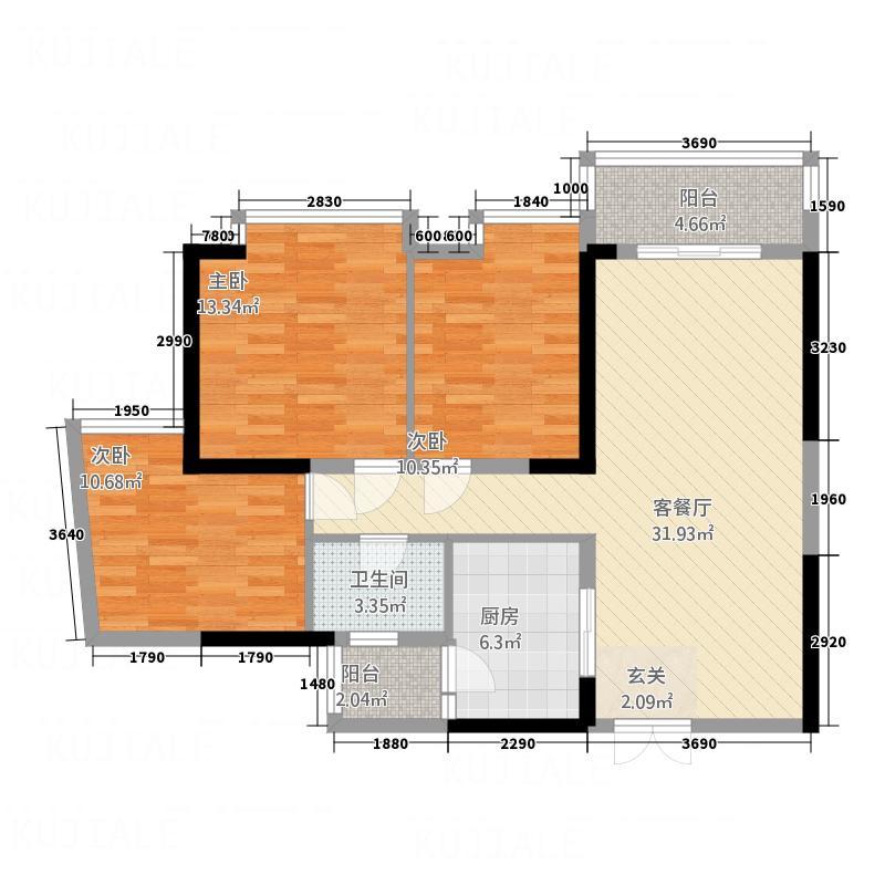 百仕达乐湖118.00㎡3-F户型3室2厅1卫