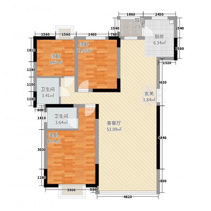 丽阳星城123.42㎡A户型3室2厅2卫1厨