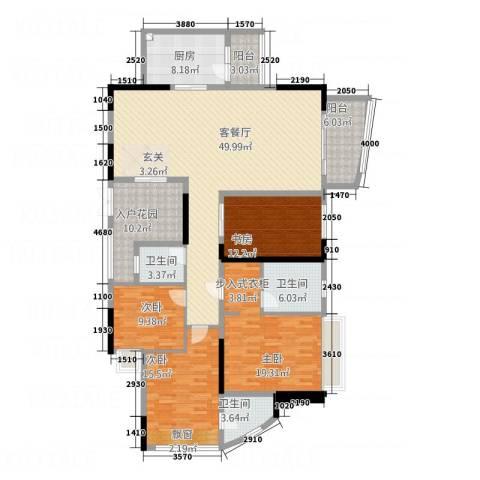 均城上岛水岸4室1厅3卫1厨173.00㎡户型图