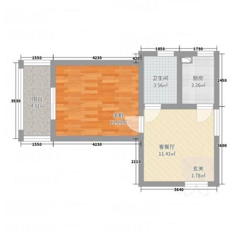 德禾豪景1室1厅1卫1厨53.00㎡户型图