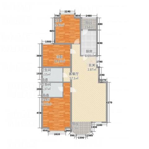 观海山庄3室1厅2卫1厨187.00㎡户型图