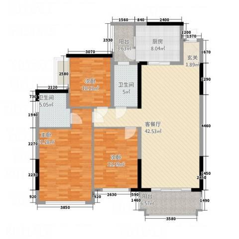 翠竹北区3室1厅2卫1厨161.00㎡户型图