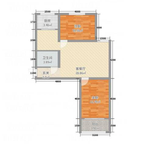 幸福湾2室1厅1卫1厨90.00㎡户型图