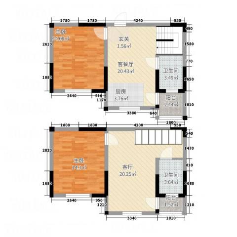 梧桐花园2室2厅2卫0厨115.00㎡户型图
