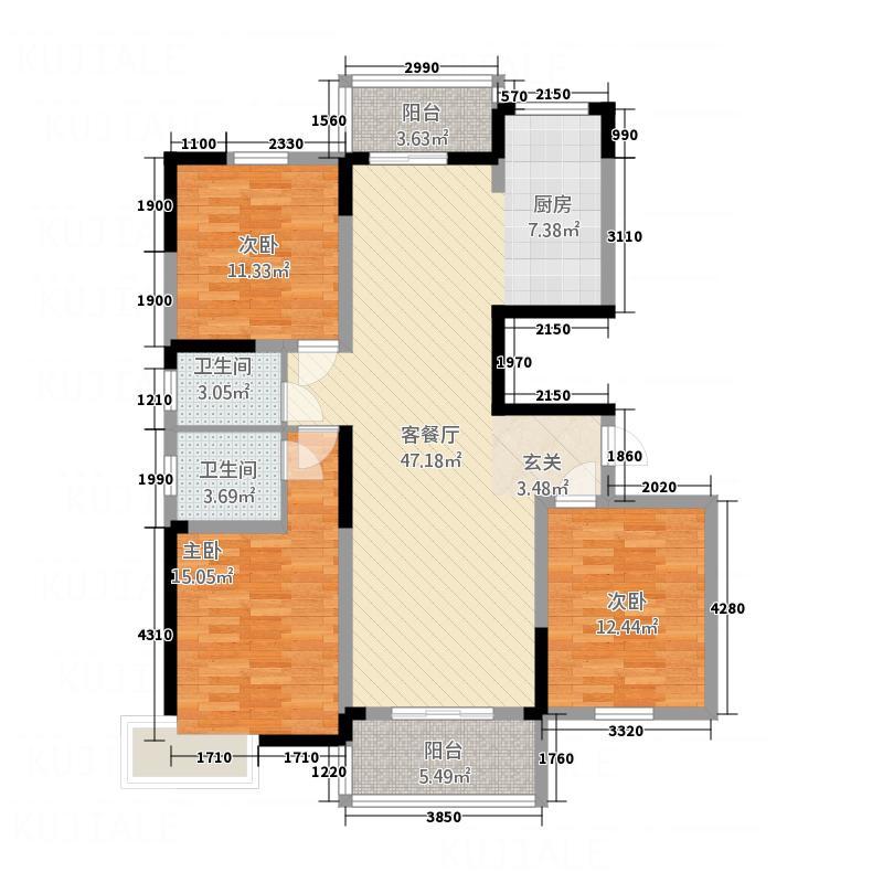 梧桐花园145.00㎡D户型3室2厅2卫1厨