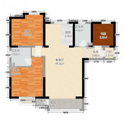 汇鑫温泉都市庭院3室1厅2卫0厨129.00㎡户型图