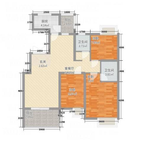 秦文阁3室1厅2卫1厨125.00㎡户型图