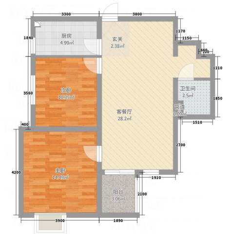 秦文阁2室1厅1卫1厨63.68㎡户型图