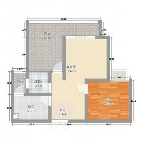 融鑫科技公寓1室1厅1卫1厨76.00㎡户型图