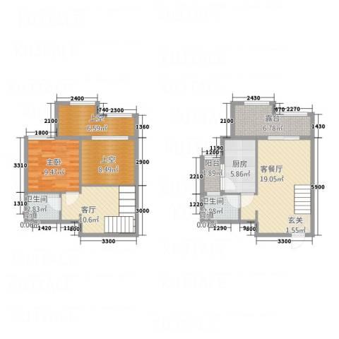 中国水电海赋外滩1室2厅2卫1厨86.67㎡户型图
