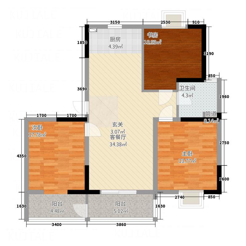 华都馨苑122.00㎡G型户型3室2厅1卫1厨