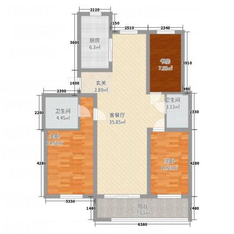 华都馨苑3室1厅2卫1厨129.00㎡户型图