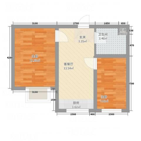 左岸・智慧城2室1厅1卫0厨56.00㎡户型图
