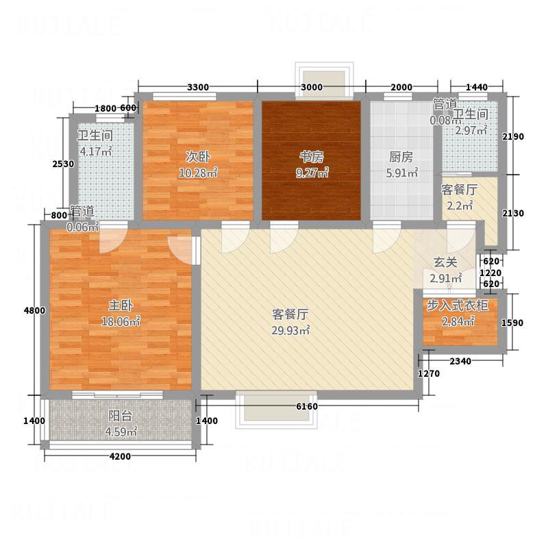 义合・三千湖2#楼户型3室2厅2卫1厨