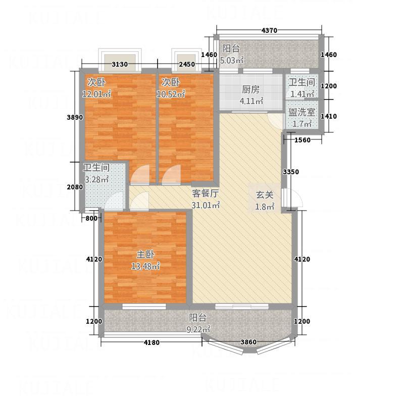 盛世豪庭131.53㎡J户型3室2厅2卫1厨