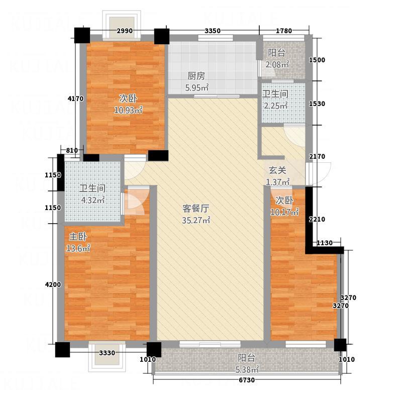 盛世豪庭128.33㎡E户型3室2厅1卫1厨