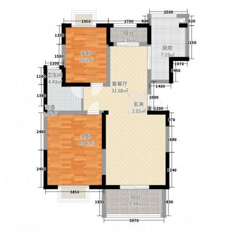 城南九月2室1厅1卫1厨77.78㎡户型图